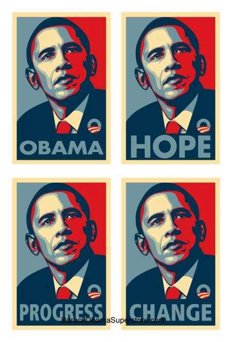BARACK OBAMA PRESIDENTIAL POSTER SET OF 4