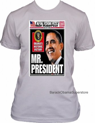 BARACK OBAMA COLLECTIBLE HISTORIC VICTORY NEW YORK POST COVER T-
