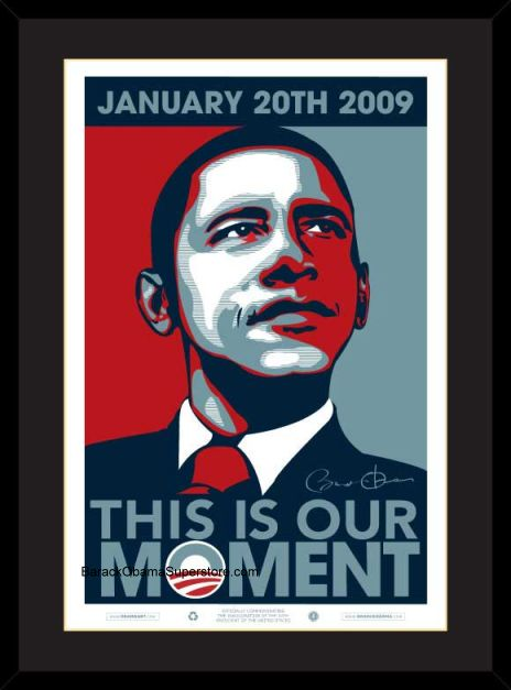 EXCELLENT FRAMED  BARACK OBAMA INAUGURAL POSTER OUR MOMENT(SM)